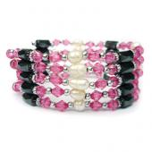 36inch Pink Glass Beads, Freshwater Pearl,Magnetic Wrap Bracelet Necklace All in One Set
