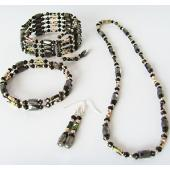 Black Cloisonne Beads Magnetic Wrap Bracelet Necklace All in One Set Jewelry Set