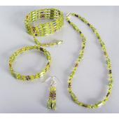 Green Cloisonne Beads Magnetic Wrap Bracelet Necklace All in One Set Jewelry Set