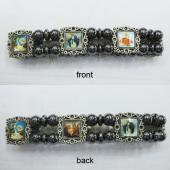 Hematite Beads and Alloy Spacer Religious Bracelet 7.8inch