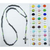 Hematite And Assorted Color Cats eye Necklace Rosary with Crucifixion 24inch