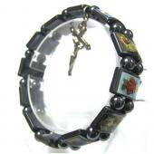 Magnetic Hematite Religious Sealed Icon Bracelet with Crucifix 7.8inch